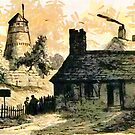 A digital painting of Hollowayhead Windmill from Old & New Birmingham 1880 by Dennis Melling