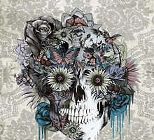 Mute, sunflower skull by KristyPatterson