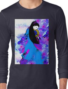 Asian Princess and Cherry Blossoms Long Sleeve T-Shirt