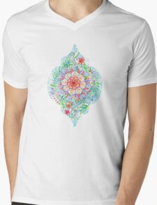 Messy Boho Floral in Rainbow Hues Mens V-Neck T-Shirt