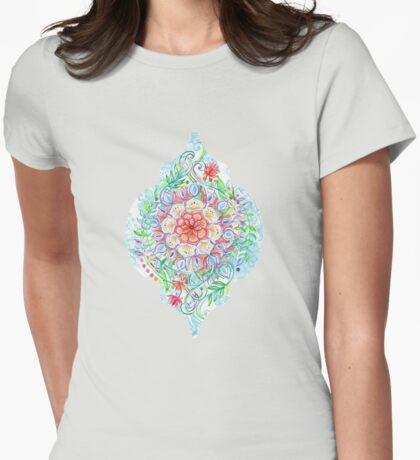 Messy Boho Floral in Rainbow Hues Womens Fitted T-Shirt