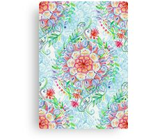 Messy Boho Floral in Rainbow Hues Canvas Print