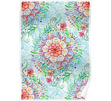 Messy Boho Floral in Rainbow Hues Poster