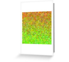 Abstract background from triangles in orange and green Greeting Card