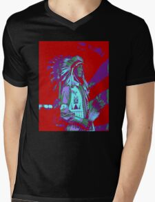 Indian Chief Pop Art Mens V-Neck T-Shirt