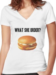 What She Order? Women's Fitted V-Neck T-Shirt