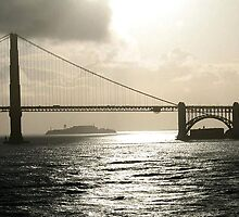 GOLDEN GATE BRIDGE WITH ALCATRAZ IN BACKGROUND by JAYMILO