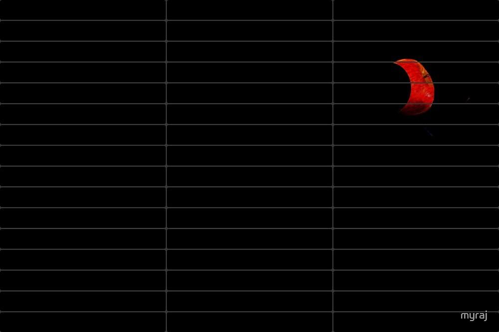 A red apple moon through a venetian blind by myraj