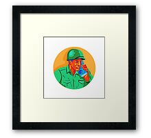 World War Two Soldier American Talk Radio WPA Framed Print