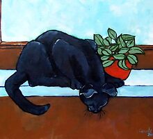 Black Cat on Ledge by Carole Chapla