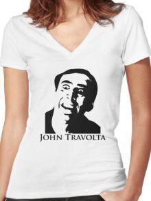 John Travolta Women's Fitted V-Neck T-Shirt