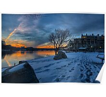 Georgetown Waterfront in Winter Poster
