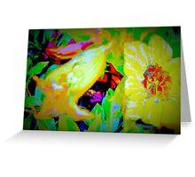 Tropical view of Allamanda flowers Greeting Card