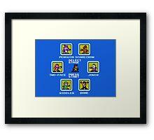 8-bit Batman/Megaman Mash-up Stage Select Framed Print