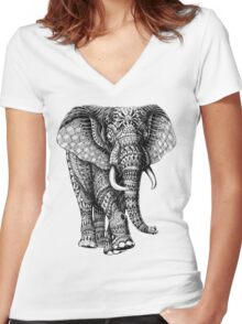 Ornate Elephant v.2 Women's Fitted V-Neck T-Shirt