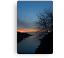 Waiting for Dawn - Lakeside Blues and Oranges Canvas Print