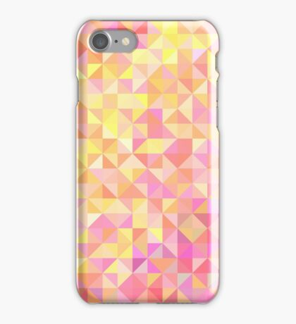 Abstract background from triangles in shades of pink and yellow iPhone Case/Skin