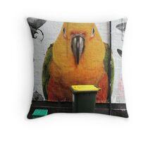 Bird & Bin Throw Pillow