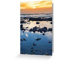 beautiful mellow sunset over rocky beach Greeting Card