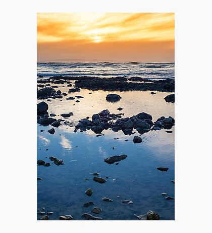 beautiful mellow sunset over rocky beach Photographic Print