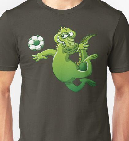 Brave alligator heading a soccer ball Unisex T-Shirt