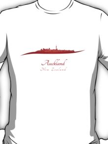 Auckland skyline in red T-Shirt