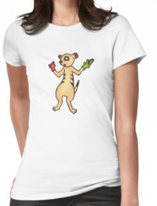 Meerkat with Hand Puppets Womens Fitted T-Shirt