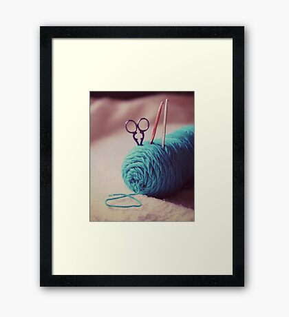 turquoise yarn Framed Print