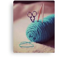 turquoise yarn Canvas Print