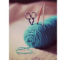 turquoise yarn Photographic Print
