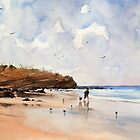 Man and Dog on the Beach by LordOtter