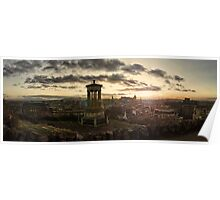 Panoramic Sunset Over Edinburgh, Scotland Poster