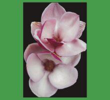 tulip magnolia twins (black bg) One Piece - Short Sleeve