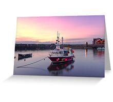 Sunset, Newhaven Harbour. Edinburgh Greeting Card