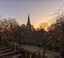 Sunrise, St Cuthbert's Church and Edinburgh Castle by Miles Gray