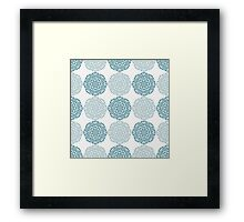 Navy blue lace flower pattern on white background Framed Print