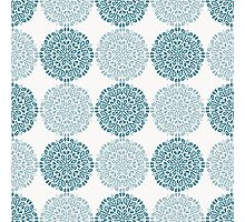 Navy blue lace flower pattern on white background Photographic Print