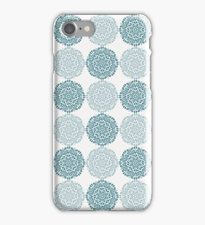 Navy blue lace flower pattern on white background iPhone Case/Skin
