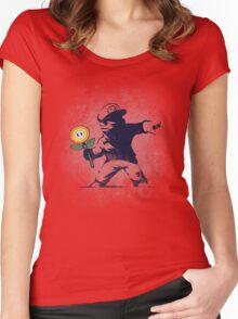 Banksy flower Women's Fitted Scoop T-Shirt