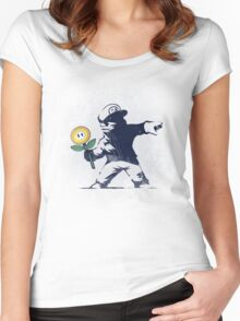 Banksy flower Women's Fitted Scoop T-Shirt