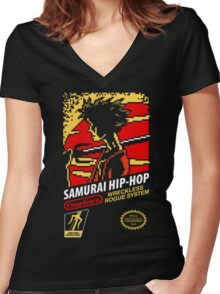 Samurai Hip-Hop Women's Fitted V-Neck T-Shirt