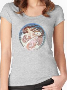 Vintage Mucha Moon Women's Fitted Scoop T-Shirt