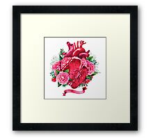 Watercolor heart with floral design Framed Print