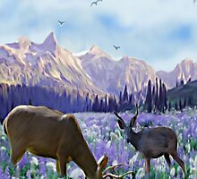 Deer in a Field of Purple Flowers by Chere Lei