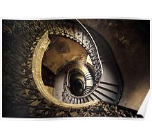 Abandoned spiral staircase Poster