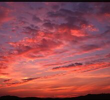 Red sunset clouds panorama by damil