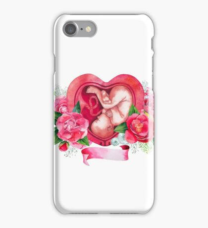 Watercolor fetus inside the womb iPhone Case/Skin