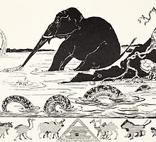 The Elephant's Child having his nose pulled by the Crocodile by Bridgeman Art Library