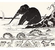 The Elephant's Child having his nose pulled by the Crocodile Photographic Print