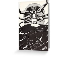Pau Amma the Crab rising out of the sea as tall as the smoke of three volcanoes Greeting Card
